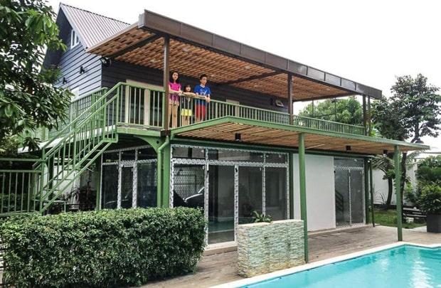 Nhà khung thép mái tôn 2 tầng