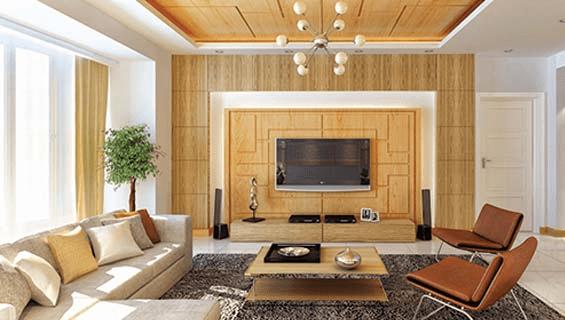 Trần nhà làm bằng tôn vân gỗ mang vẻ đẹp sang trọng