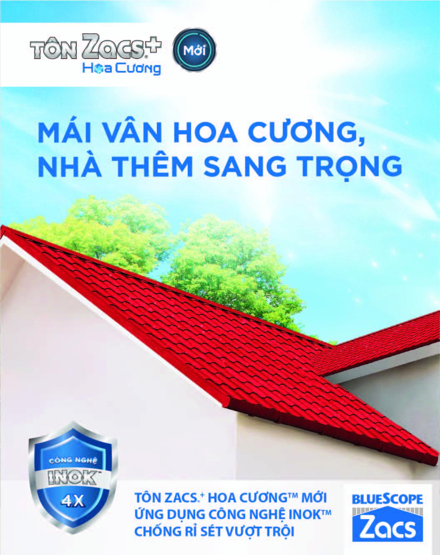 Lợp tôn BlueScope Zacs®+ Hoa Cương Công Nghệ INOK™ mái nhà vừa bền đẹp vừa hợp phong thủy