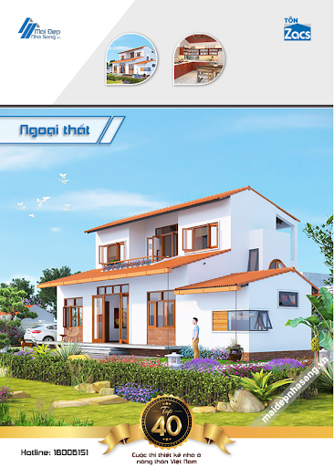 mẫu nhà 2 tầng mái ngói đẹp truyền thống