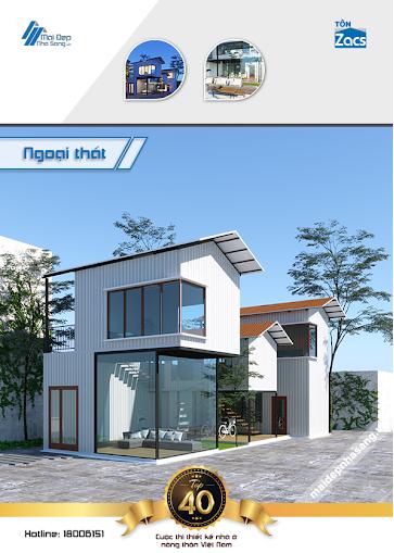 mẫu nhà 2 tầng mái tôn đẹp đơn giản