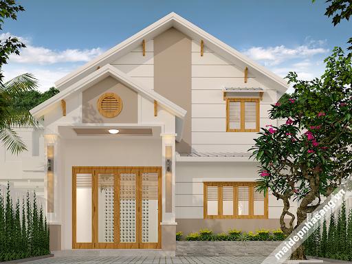 mẫu nhà 2 tầng mái tôn thiết kế đẹp