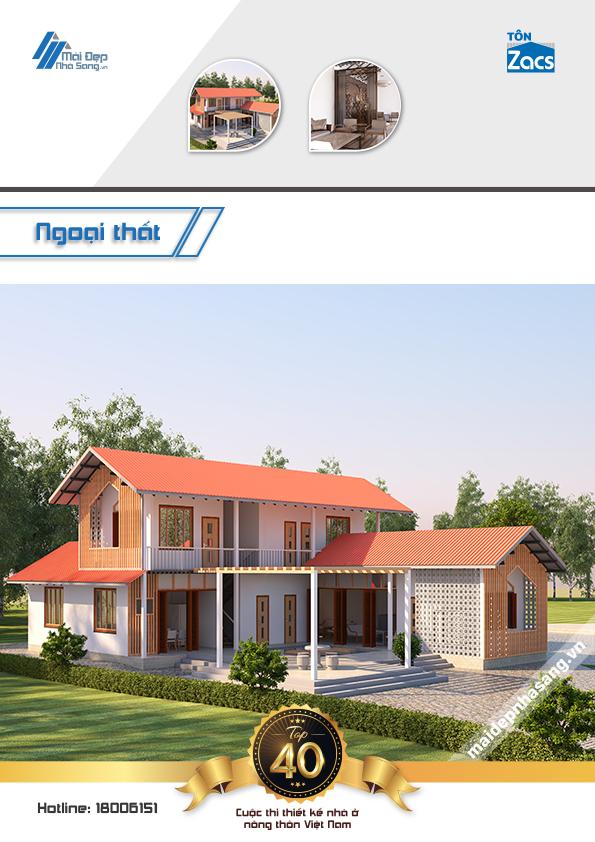 thiết kế nhà 2 tầng mái tôn đẹp