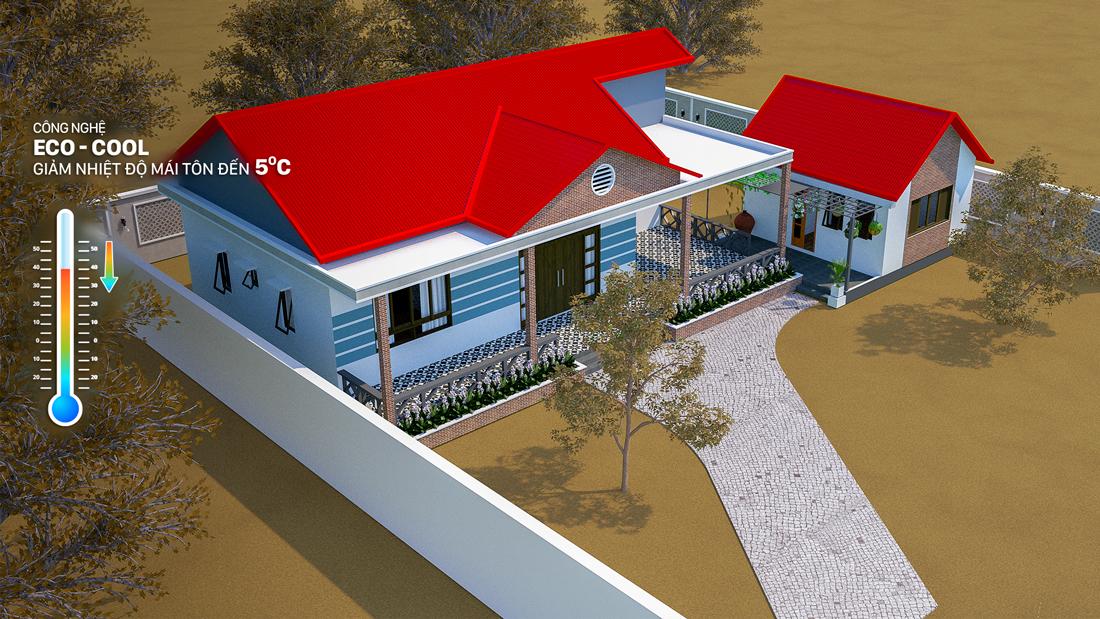 Mái nhà lợp tôn Zacs®+ Hoa Cương Công Nghệ INOK™ đẹp hiện đại