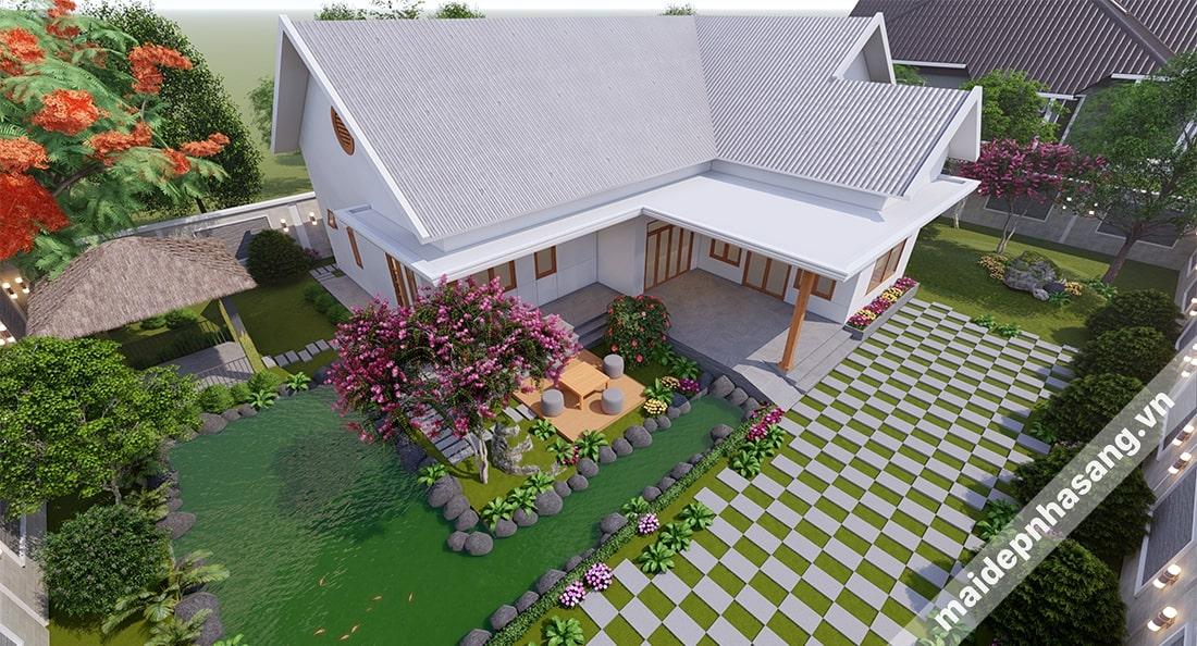 Mẫu nhà lợp tôn mái đốc đồng nhất theo phong cách biệt thự sân vườn