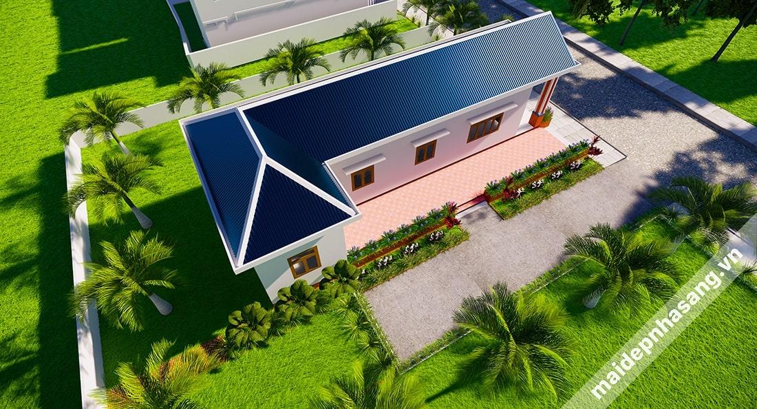 Mẫu thiết kế nhà lợp tôn hình chữ L với kiến trúc mái dốc đồng nhất