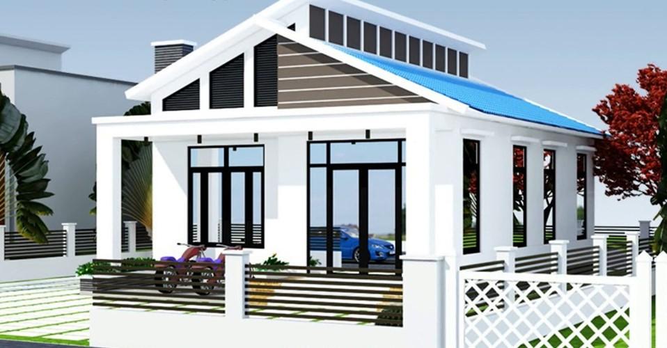 Ấn tượng với kiến trúc mái lệch lợp tôn màu xanh dương