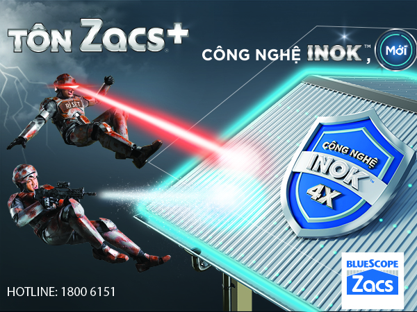 Tôn Zacs ®+ Công Nghệ INOK ™ chống rỉ sét như tôn INOX