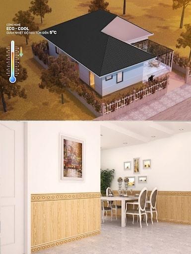 Lợp tôn Zacs Hoa Cương màu Thủy Trường Tồn nên dùng gạch ốp tường màu nào?