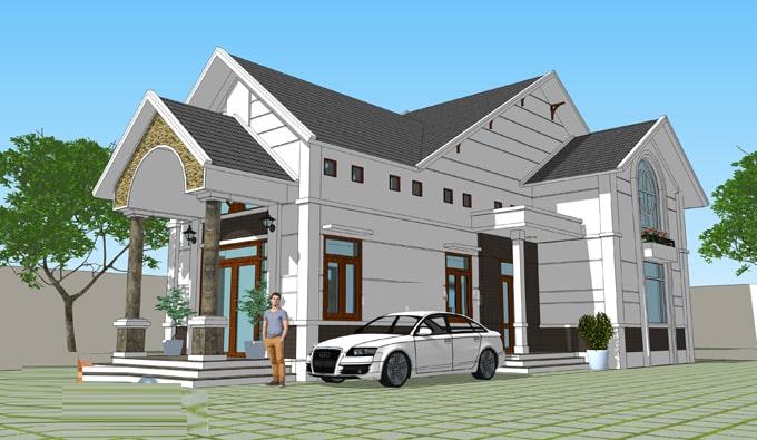 Với mẫu thiết kế trên đây, việc thiết kế thêm gác lửng giúp ngôi nhà trở nên sang trọng hơn