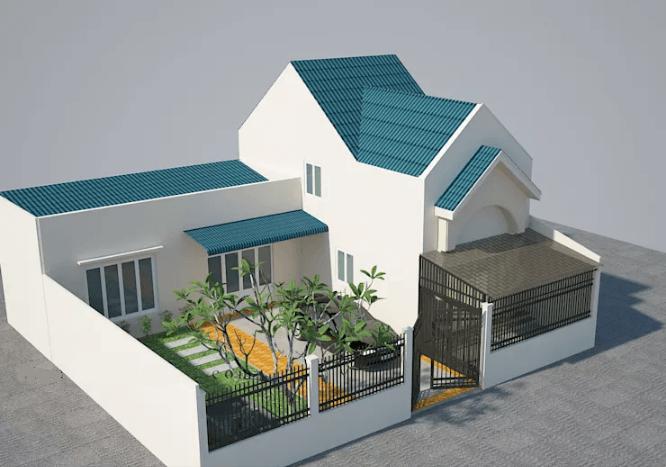 Bạn cũng có thể tham khảo mẫu thiết kế nhà có gác lửng với tôn lợp mái màu xanh mang lại cảm giác tươi mới và gần gũi