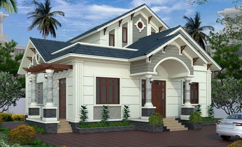 Việc thiết kế thêm gác lửng ở tầng giữa giúp ngôi nhà trở nên hài hòa và cân đối khi nhìn từ bên ngoài
