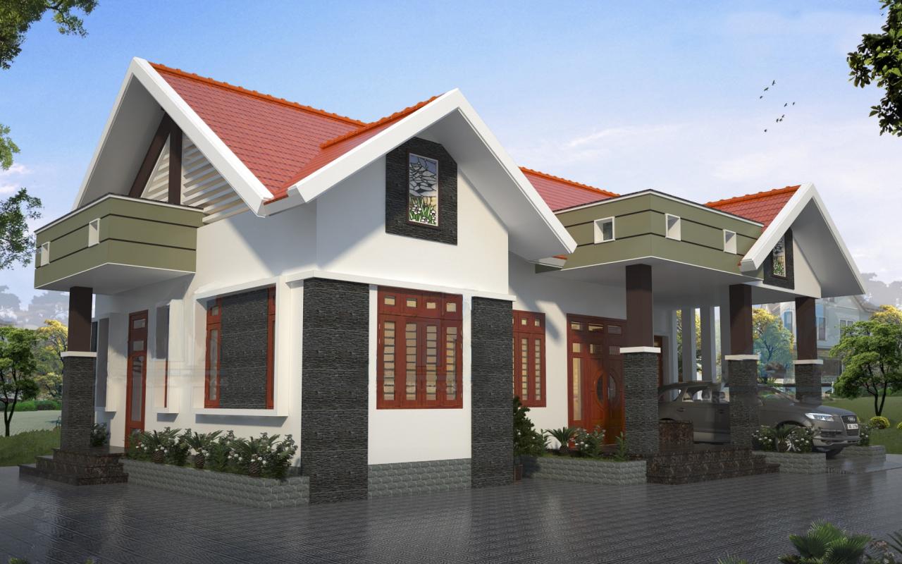 xây nhà cấp 4 mái tôn hiện đại