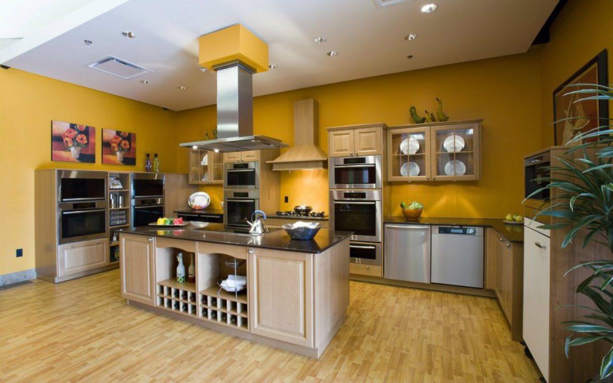 phòng bếp màu vàng chanh