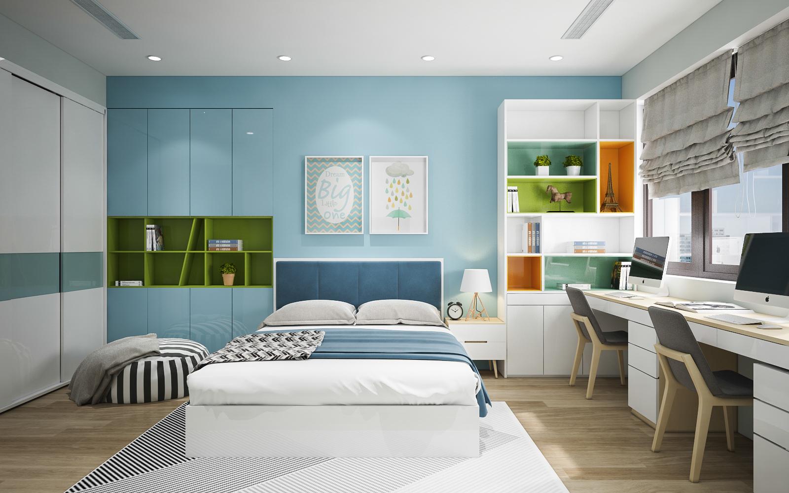 phòng ngủ màu xanh biển