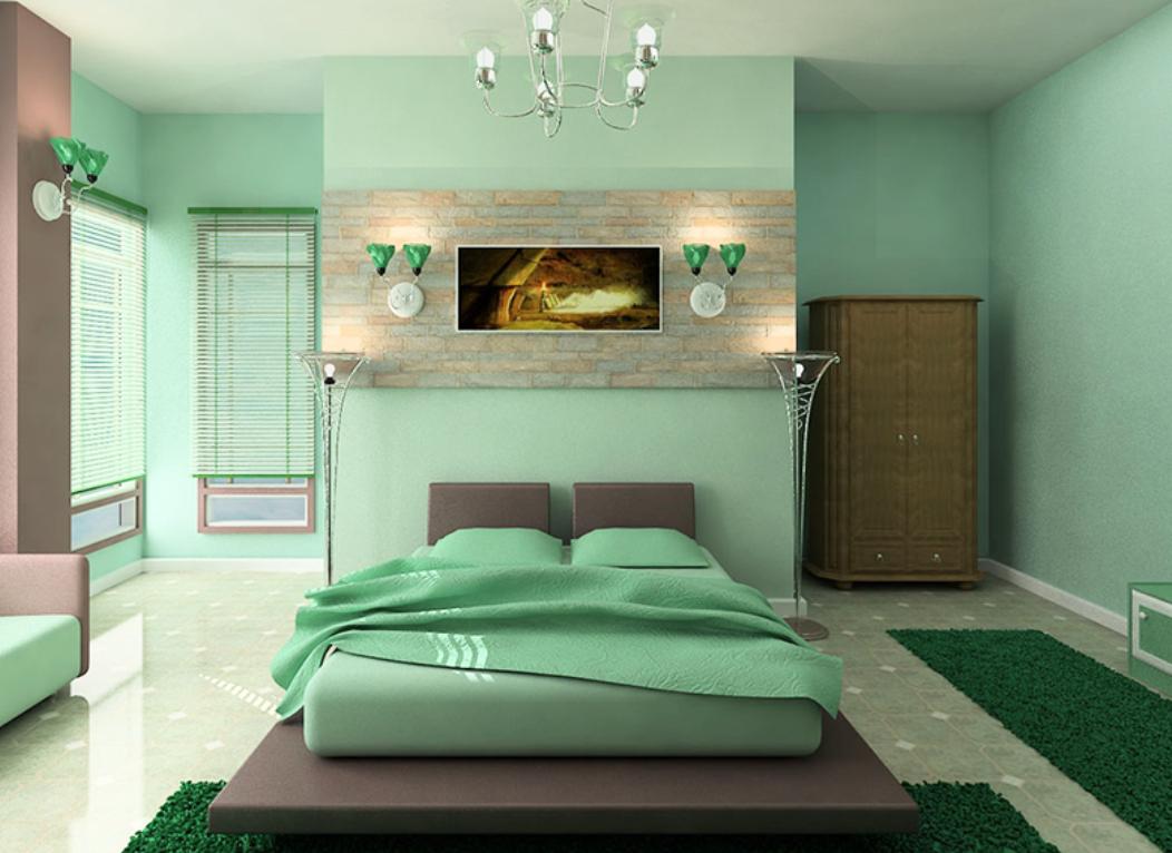 phòng ngủ màu xanh cốm